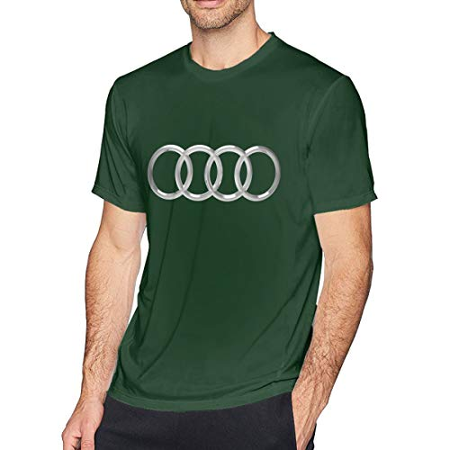 HANRUI Customized 3D Audi Logo Tshirts for Man100% Organic Cotton Short Sleeve Forest Green