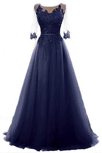 Long Formal Party Dress, Jewel Floor-Length Tulle Evening Gown for Women with Half Sleeves-Navy Blue-10