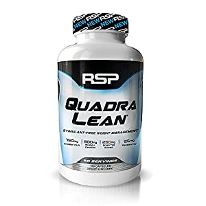 New RSP QuadraLean 100% Stimulant Free Weight Loss Supplement with CLA, L-Carnitine, Green Tea Leaf Extract and Grains of Paradise, 50 Servings