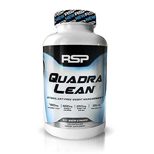 RSP QuadraLean Stimulant Free Fat Burner Pills, Weight Loss Supplement, Appetite Suppressant & Metabolism Booster, Diet Pill for Men & Women, 50 Servings by RSP Nutrition