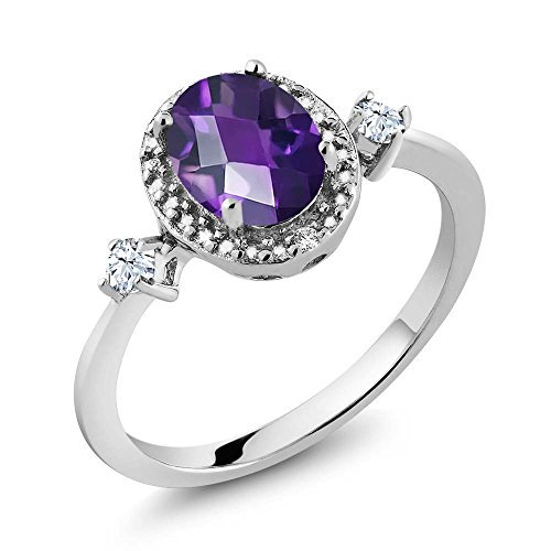 1.11 Ct Oval Checkerboard Purple Amethyst White Created Sapphire 925 Sterling Silver Ring With Accent ()