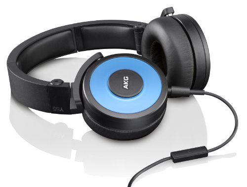 AKG Y55 Blue DJ-Ready Headphones with Enriched Bass, Snug Fit and In-Line Remote/Microphone with Volume Control, Blue