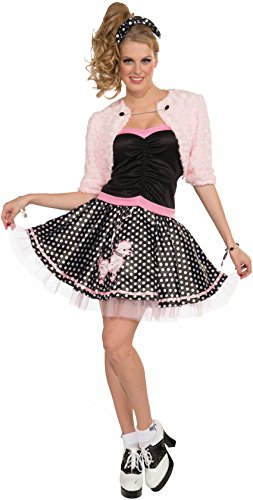 50's Rockabilly Halloween Costumes (Forum Novelties Women's Plus-Size Flirting with The 50's Deluxe Poodle Skirt, Multi, Standard)