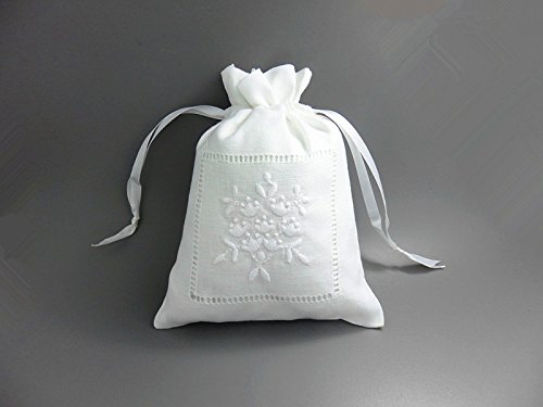 White Linen Gift Bags Drawstring Embroider Sachet Mini Flowers 5