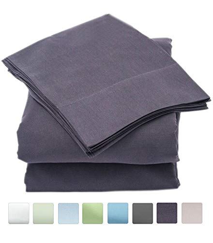 400 Thread Count 100% Long Staple Cotton Sheet Set, Soft & Silky Sateen Weave, King Bed Sheets, Elastic Deep Pocket, Hotel Collection, Wrinkle Free, Luxury Bedding, 4 Piece Set, King - Neutrale Grey ()