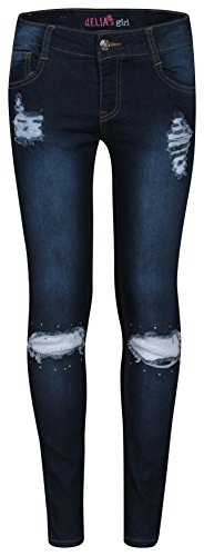 'Delia\'s Girls\' Denim Jeans with Lace Inserts, Dark, Size 12' (Tween Outfits)