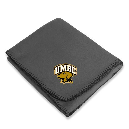 CollegeFanGear UMBC Grey Arctic Fleece Blanket 'Official Logo - Arched UMBC w/Retriever' by CollegeFanGear