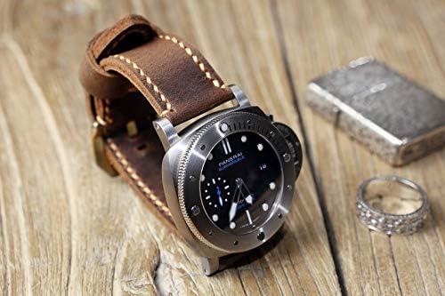 ビンテージ メンズ レザー時計バンド 本革男性腕時計ベルト オイルタンニンなめし牛革 レザーストラップ 20mm 22mm 24mm 26mm パネライ PANERAI時計適用 他のブランド時計も適用 ブラウン WS05BB