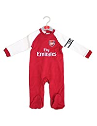 Arsenal FC Official Football Gift Home Kit Baby Sleepsuit Red White 6-9 Months