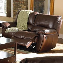 Clifford Brown Leather Double Reclining Love Seat by Coaster – Warm Brown Leather Match Review