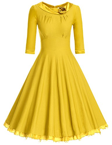 MUXXN Women's Retro 1940s Style Scoop Neck Bridesmaid Tea Le