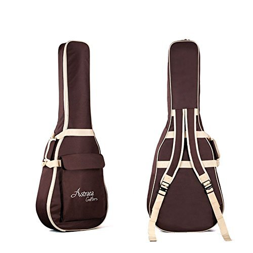 High Quality 40 41 Inch Acoustic Guitar Waterproof Thicken Padded Bag Advanced Guitar Case with Double Strap and Outer Pockets (Coffee)
