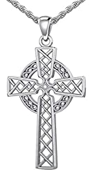 Men's Silver Celtic Knotwork Cross Pendant Necklace