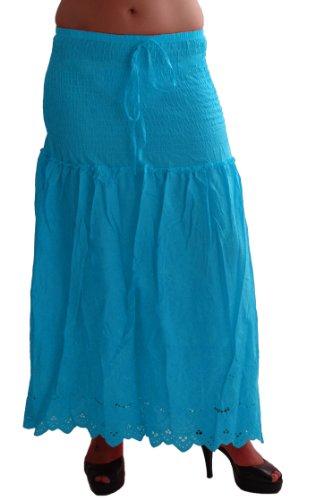 EyeCatch - Bohemian Aux Femmes Longue Floaty Coton Dames Gitan Maxi Jupe Conception 3 Turquoise