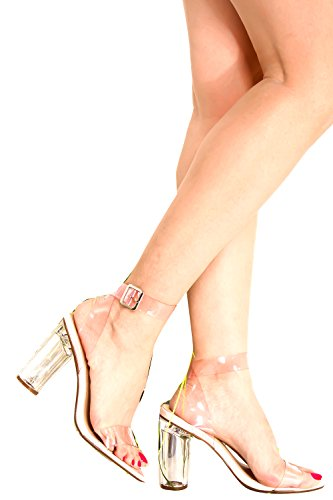 DND ANNA OPEN TOE CLEAR TRANSPARENT PERPETUAL PERSPEX CHUNKY COLUMN HIGH HEEL Pink-proto-1 k0W3spXVz