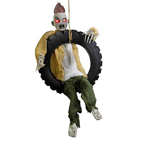 Halloween Decorations Props Sale (Halloween Haunters Animated 3 Foot Hanging Swinging Leg Kicking Zombie Boy Reaper in Tire Swing Prop Decoration - 16