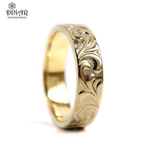 Scrolls Wedding Band ,14k yellow Gold ,18k white gold, 18k yellow gold, Art Deco wedding ring , women's band, men's band , solid gold thick wedding band, engraved scrolls, DINAR jewelry ()