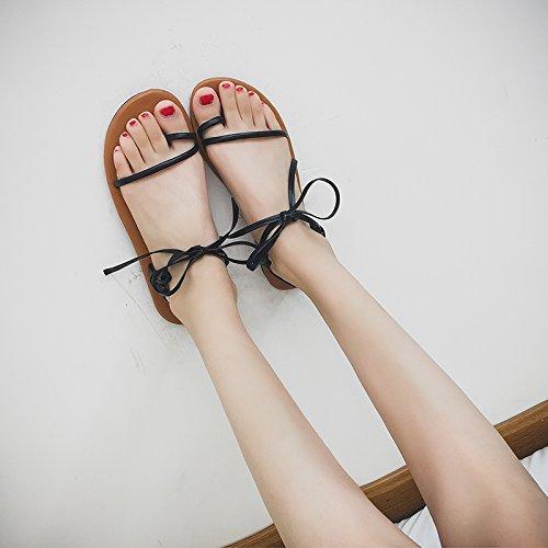 de del Comodidad de Fondo Playa Correa Verano Plano Damas Calzado Toe Zapatillas black Bohemia Antideslizante YMFIE Sandalias EwYCIIq