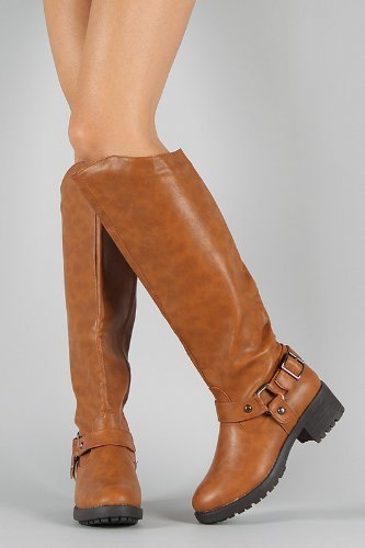 Faux Leather 48 Brown Buckle Knee Riding Nb200 High Boots Strap Lt x4rwRCqdx