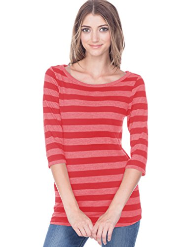 Kavio! Juniors Striped Jersey Boat Neck 3/4 Sleeve Striped Heather/Red XL (The Boy In The Striped Pajamas Sparknotes)