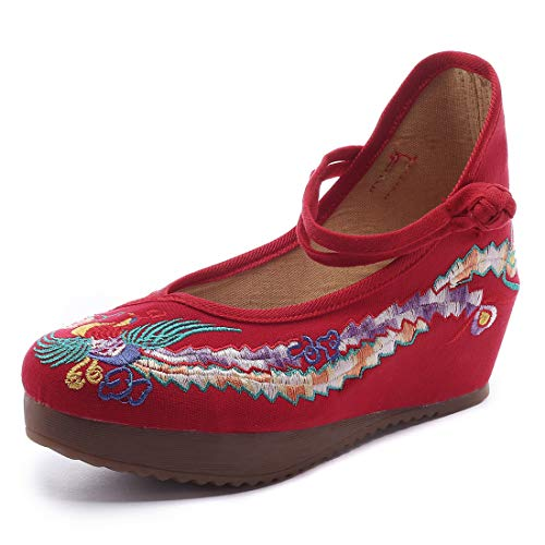 Qhome Women's Chinese Phoenix Embroidered Oxfords Rubber Sole Cheongsam Shoes - Oxford Style Platform Pumps