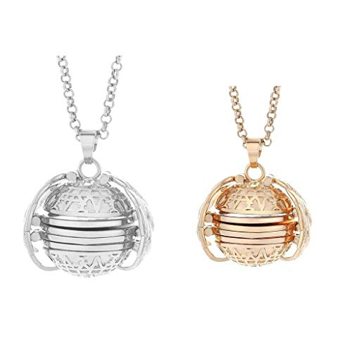 Lomsarsh 2 Piece Photo Box Pendant Necklace Expanding Photo Pendant Angel Wings Gift for Girlfriend & Mother Expand to Reveal 4 Pictures of Precious Loved Ones - Silver + Rose Gold