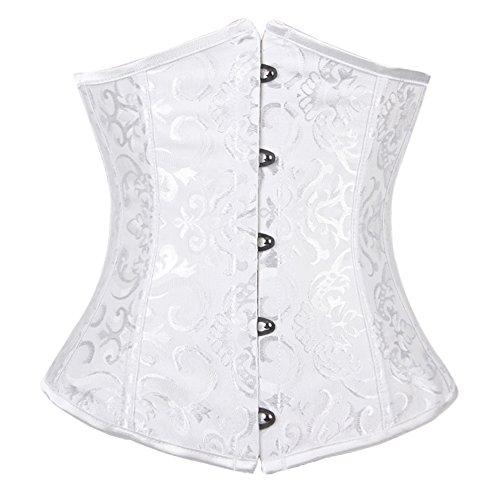 FeelinGirl(JP) 보정 속옷 코르셋 레이디스 자수 들어감 다이어트용 스틸 본 언더 바스트