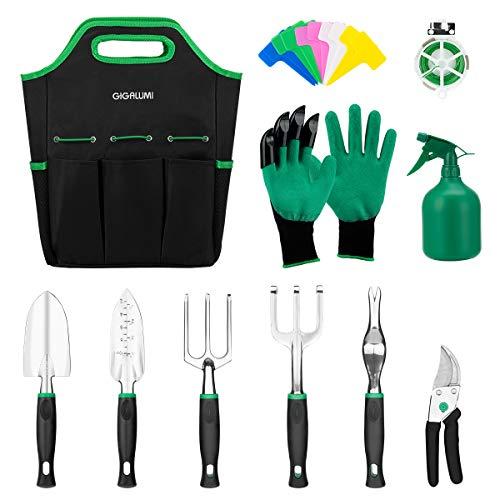 GIGALUMI 11 Piece Garden Tools Set - Gardening Tools with Garden Gloves and Garden Handbag - Gardening Gifts Tool Set with Garden Trowel Pruners and More - Aluminum Outdoor Hand Tools