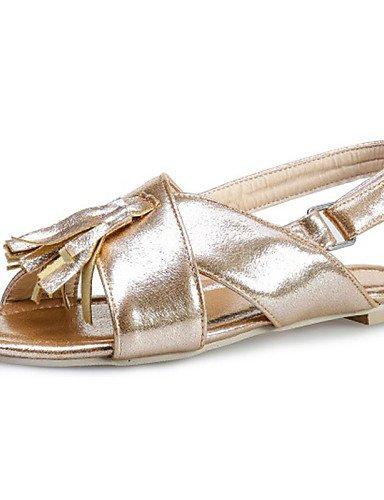 LFNLYX Zapatos de mujer-Tacón Plano-Chanclas-Mocasines-Casual-Sintético / Semicuero-Azul / Rojo / Plata / Oro fuchsia