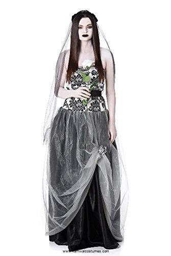 Gothic Bride Costume - Women's Gothic Bride Wedding Dress for Halloween and Dress up - Bouquet Blushing Beauty