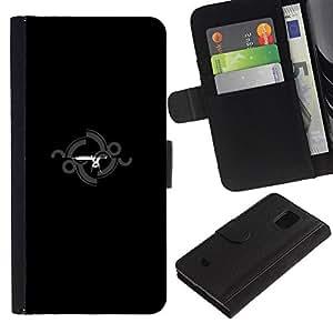 EJOY---Tirón de la caja Cartera de cuero con ranuras para tarjetas / Samsung Galaxy S5 Mini, SM-G800 / --Estación del arma