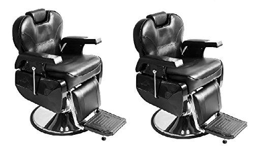 Hydraulic Styling Chair Set (Set of 2 Black All Purpose Hydraulic Recline Barber Chair Salon Beauty Spa Shampoo StylingChair)