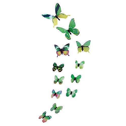 XQXCL 12pcs Luminous Butterfly Design Decal Art Wall Stickers Room Magnetic Home Decor (Green, one Size) for $<!--$1.63-->