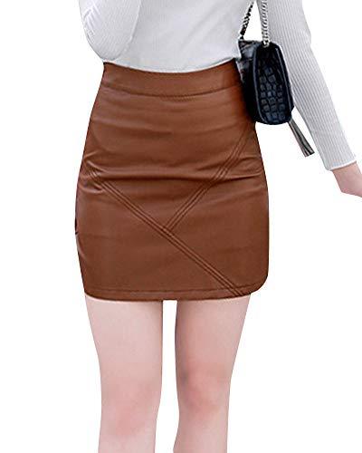 Jupes Femme Simili Crayon Cuir Elgant Jupe Taille Haute Kaki Moulante qvTwR