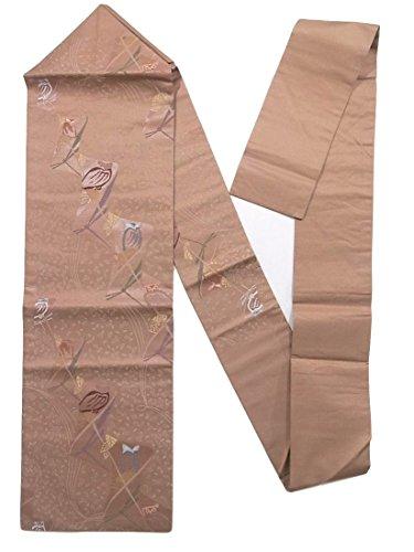 狼オーブン性差別リサイクル 名古屋帯 蜻蛉や梟 抽象模様 正絹