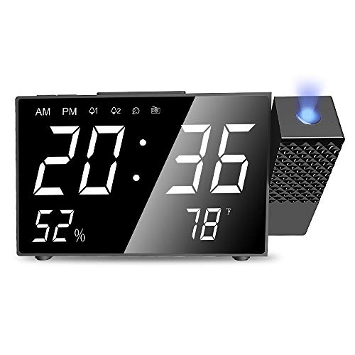LBell Projection Alarm Clock, 6.3 Projection Clock, FM Radio Alarm Clock, Dual Alarm with USB Charging Port, 12/24 Hours, Backup Battery for Clock Setting