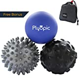 Plyopic Massage Ball Set – Includes Rubber, Spiky and Foam Roller Massager Balls | for Myofascial Release, Trigger Point Relief, Plantar Fasciitis Therapy. Eliminate Muscle Pain: Back Neck Foot etc