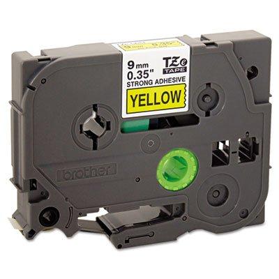 TZe Extra-Strength Adhesive Laminated Labeling Tape, 3/8''w, Black on Yellow