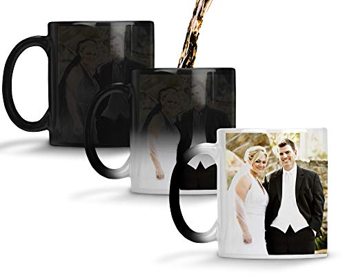 (Custom Personalized Heat Sensitive Color Changing Coffee Mug Add 2 Images 1 to each side Custom image Mug Changes to Blank when Cold and Image shows when Hot | No Minimums | 11 Ounce Custom Coffee Mug)