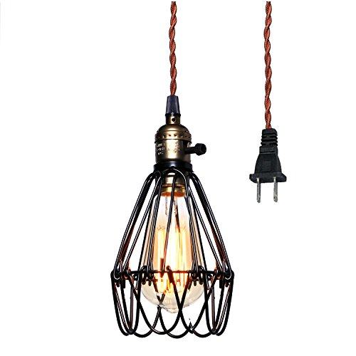 Vintage Pendant Light, Pauwer Wire Cage Lamp Plug-in Edison Pendant Light Cage with On/Off Switch (1 Light)
