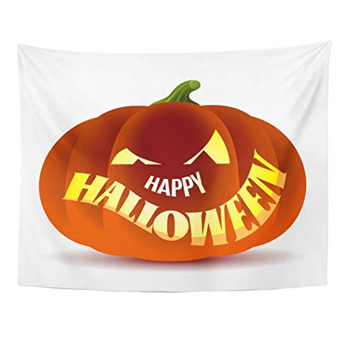 Tarolo Decor Wall Tapestry Orange Abstract Happy Halloween Pumpkin Autumn Candle Cartoon Carving 60 x 50 Inches Wall Hanging Picnic for Bedroom Living Room Dorm