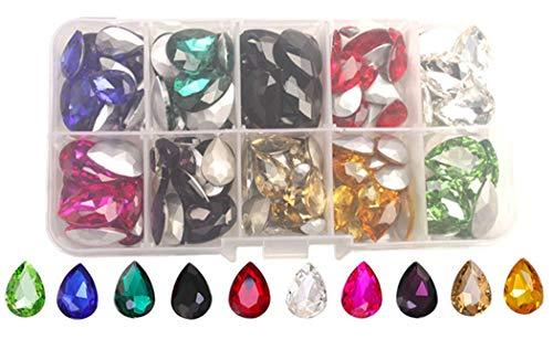 ChangJin One Box 150PCS Mixed Colors Rhinestone Crystal Teardrop Fance Stone in Storage