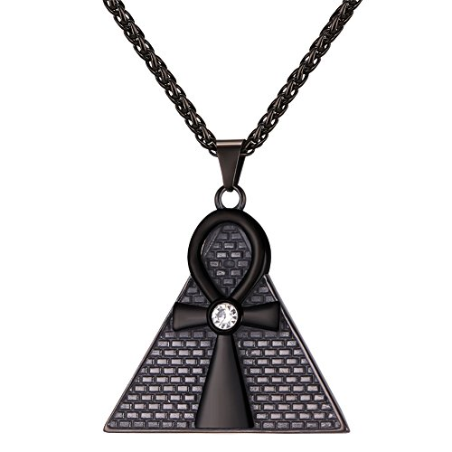U7 Men Cool Egyptian Jewelry 18K Gold Plated Rhinestone Centered Vintage Ankh Cross Pyramid Pendant Necklace
