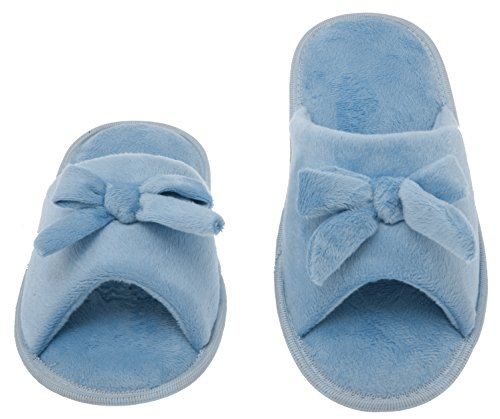 Womens Butterfly Bow Slip-On Memory Foam House Slippers, Size 7-8 - Open Toe - Pamper Your Feet With Cozy Fleece Memory Foam - Durable Non-Marking Ruber Sole - Womens Slippers, Baby Blue