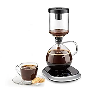 Klarstein Syphon Vacuum Coffee Maker, 360 ° Base, LCD Display, Touch Operation, 500 Watts, Keep-warm Function, Automatic and Manual Preparation Mode, Piano Black