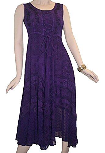 Volteggiare Dr Commercianti Sleveless Vestito Viola Smocked Vitello Gotico Corsetto Ricamato 306 Agan qTAzS
