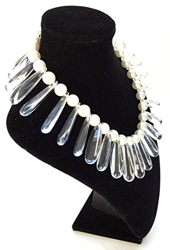 Hand Made Simulated Ivory Pearls and lucite Spike Bib Choker Necklace One of a kind Quality Jewelry