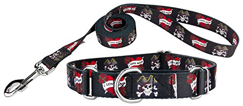 Country Brook Design | I Love Mom Martingale Dog Collar & Leash - Large ()
