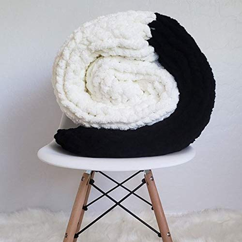 Giant Knit Chenille Blanket Throw Hand Knit Fluffy Blanket Black&CreamWhite Hand Knitted Blanket for Family Xmas Gift by FAU-Hand Knit Blanket (Image #2)