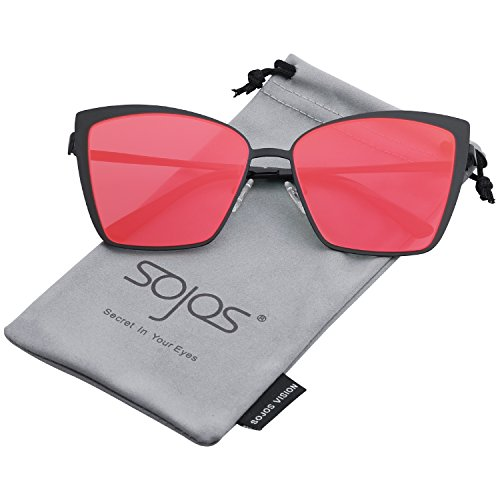 - SOJOS Cateye Sunglasses for Women Fashion Mirrored Lens Metal Frame SJ1086 with Matte Black Frame/Red Mirrored Lens